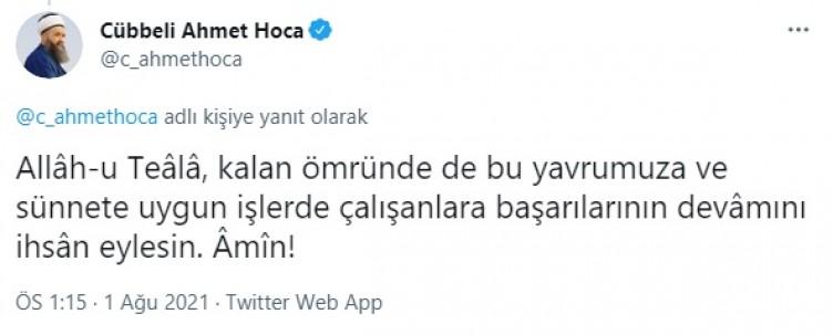 Cübbeli Ahmet Hoca'dan Mete Gazoz paylaşımı! Peygamberimiz'in (SAV) sünnetini işaret etti