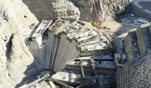 Yusufeli barajında yükseklik 184 metreye ulaştı