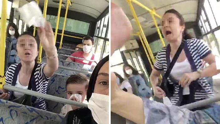 Otobüste maske takmayan kadın terörü