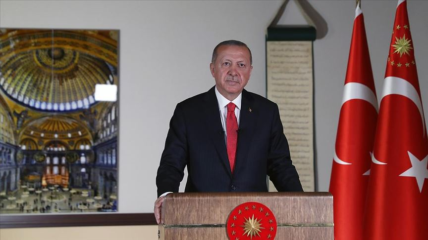 Erdoğan: 24 Temmuz Cuma günü cuma namazı ile birlikte Ayasofya'yı ibadete açmayı planlıyoruz