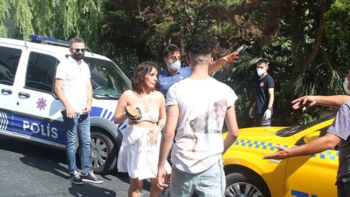 Taksici kurtardı: Polis gelince ortalığı birbirine kattı