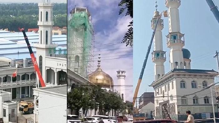 Çin Doğu Türkistan'da camileri yıkıp tapınak görüntüsü veriyor