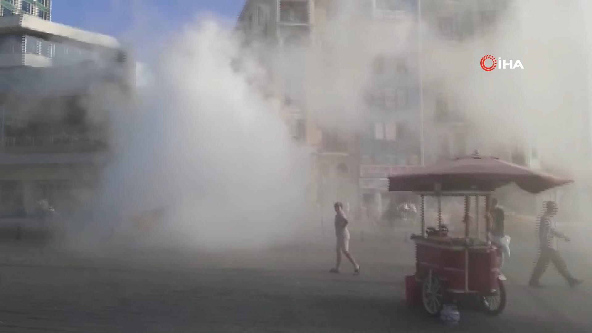 Göz gözü görmez oldu! Taksim Meydanı dumana boğuldu