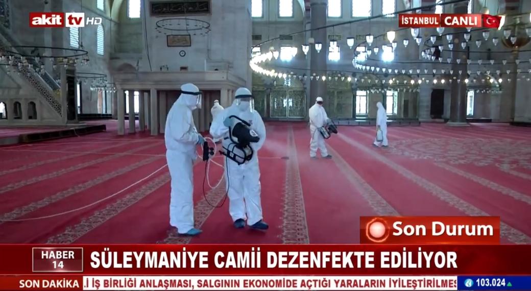 Süleymaniye Camii dezenfekte ediliyor
