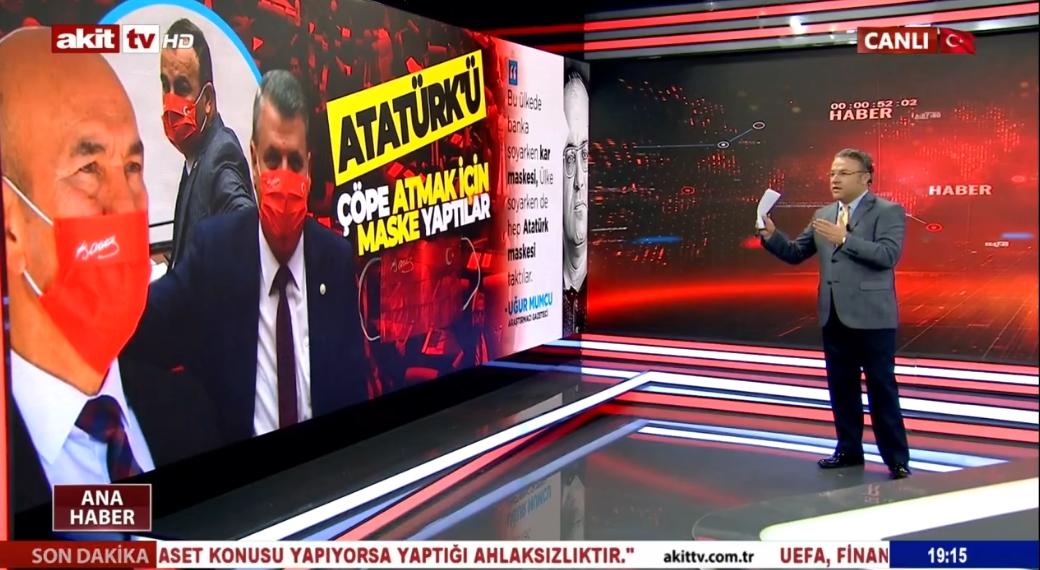 CHP, Türk bayrağı ve Atatürk imzasını çöpe atmak için maske yaptı !