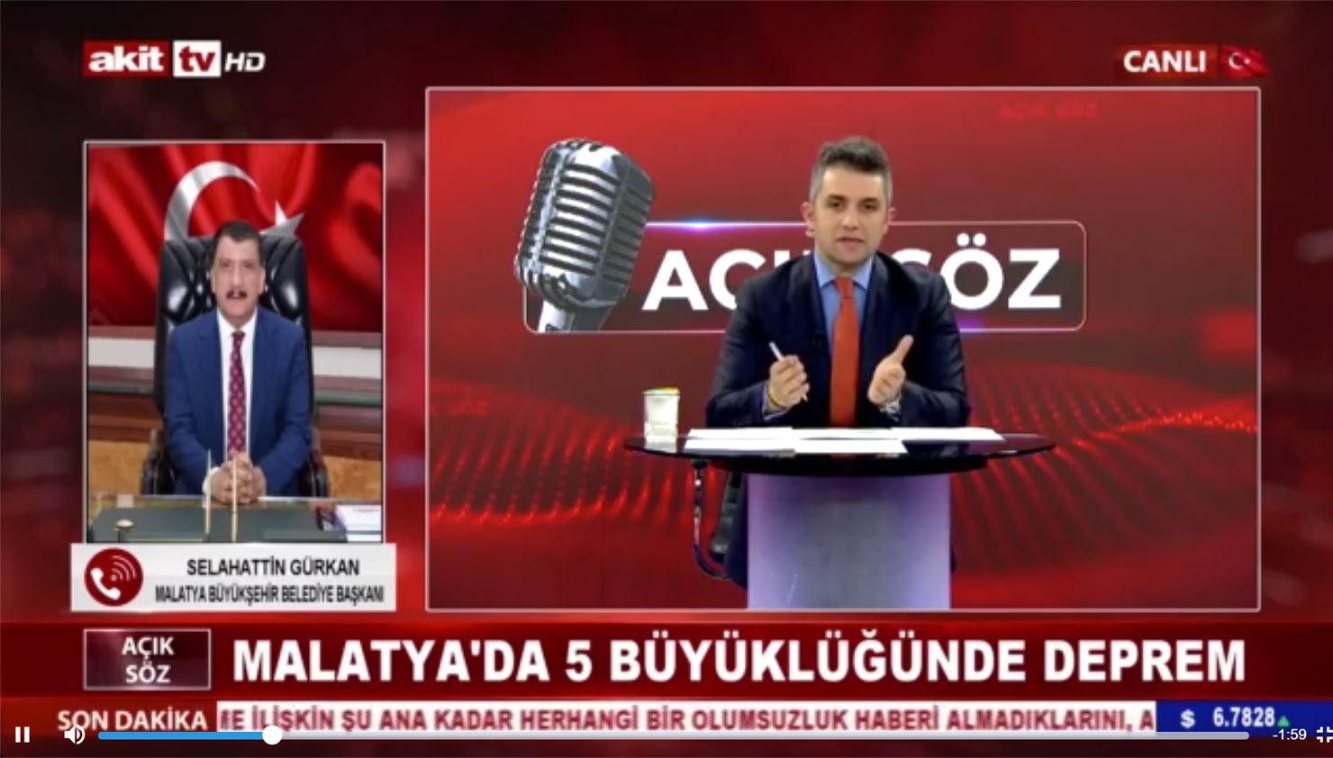 Başkan Gürkan deprem sonrası Akit TV'ye bağlandı