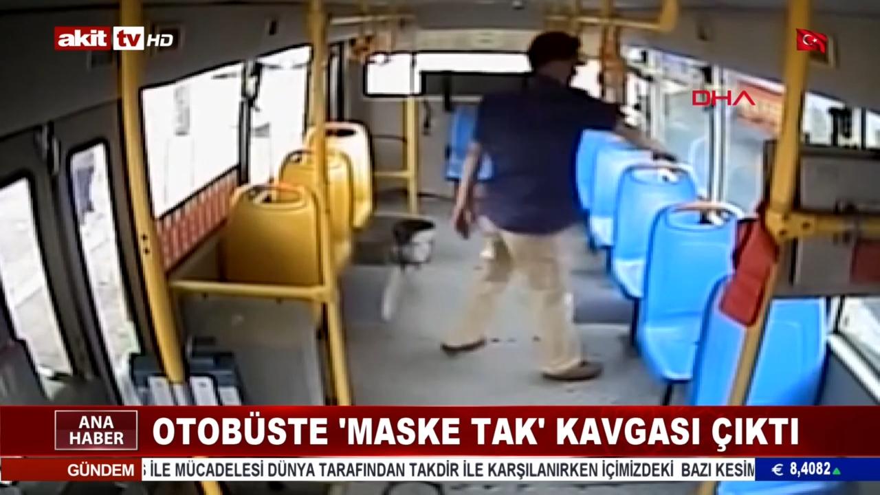 Otobüste maske tak kavgası çıktı