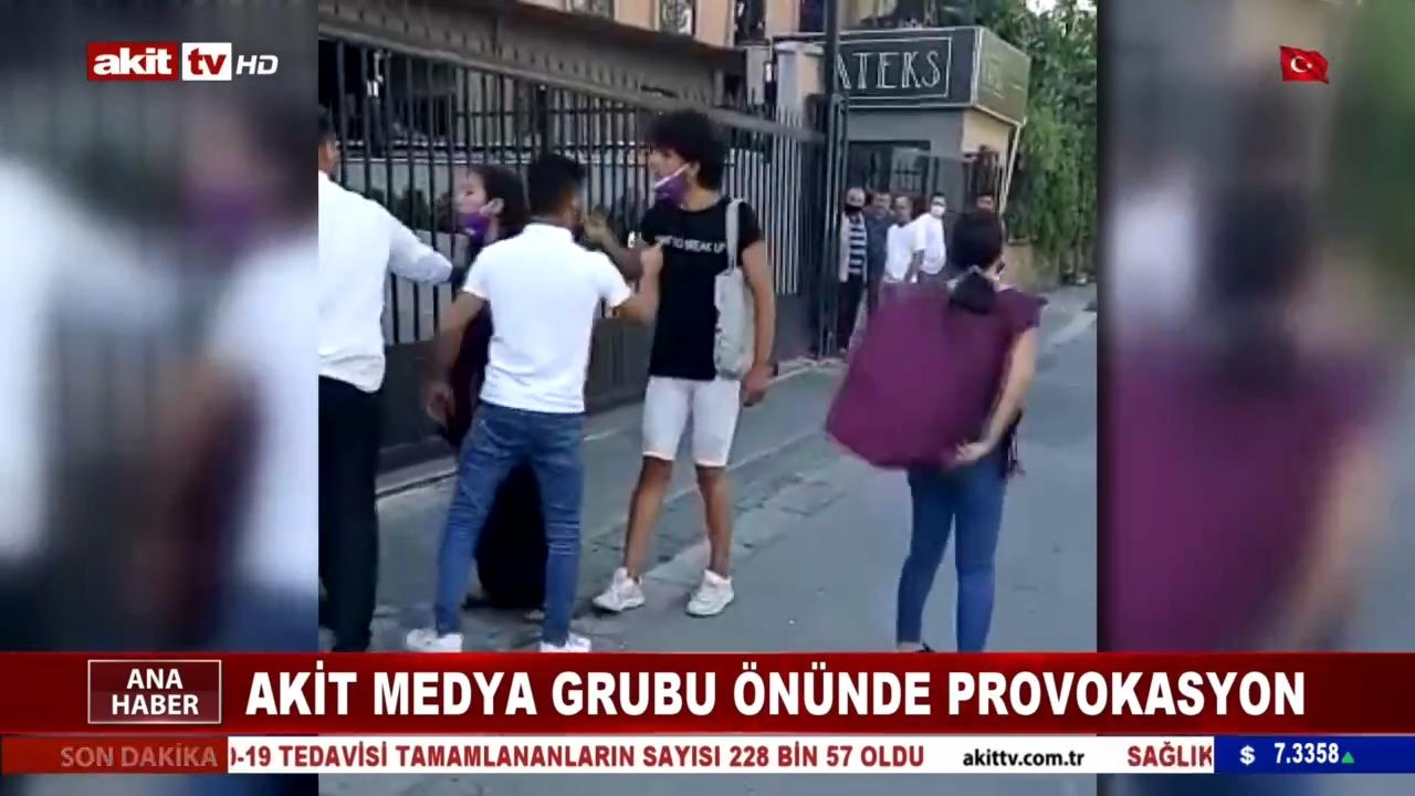 Akit Medya Grubu binasının önünde provokasyon girişimi