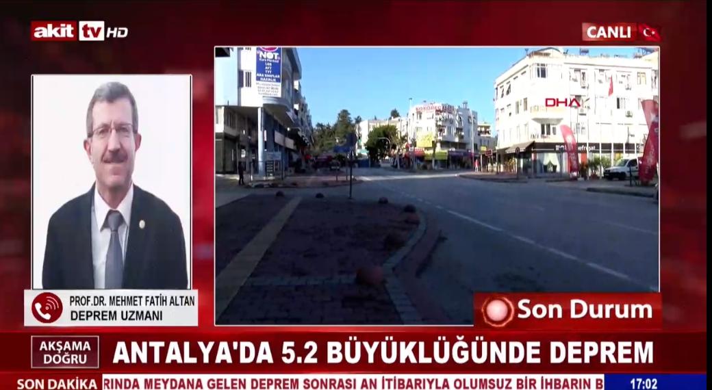 Prof.Dr. Mehmet Fatih Altan Antalya depremini değerlendirdi