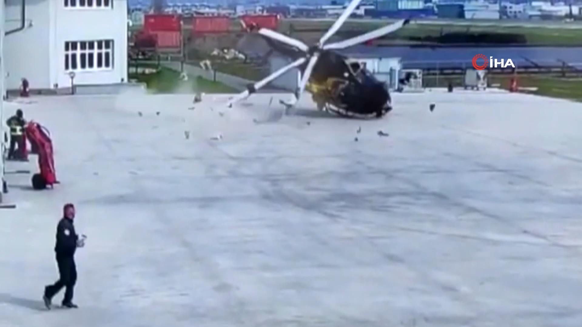 Korkunç anlar anbean kaydedildi! Polis helikopteri havalanırken kaza yaptı