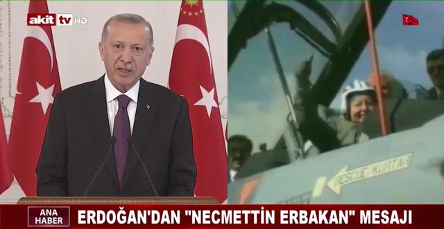 """Erdoğan'dan """"Necmettin Erbakan"""" mesajı"""